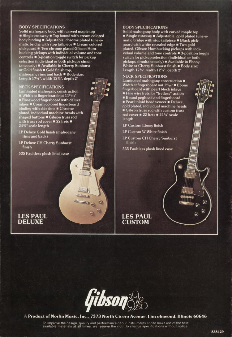 1975 Gibson Les Paul catalogue page 8 Les Paul Deluxe and Les Paul Custom