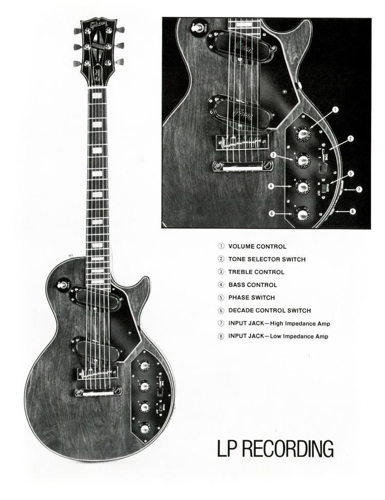 1978 Gibson Les Paul Recording description of controls - image and key