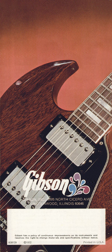 1972 Gibson SG catalogue page 12