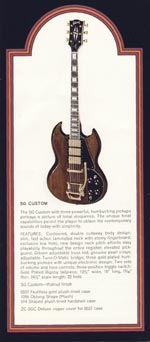 1972 Gibson solid bodies catalogue page 3 - SG Custom