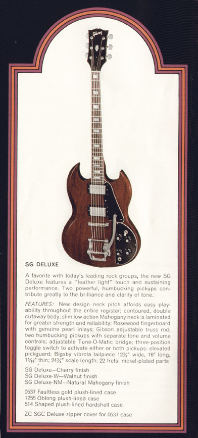1972 Gibson SG catalogue page 4