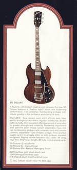 1972 Gibson solid bodies catalogue page 4 - SG Deluxe