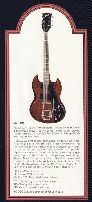 1972 Gibson SG catalogue page 5 - Gibson SG pro