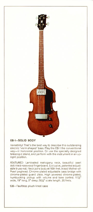 1970 Gibson bass catalogue page 2