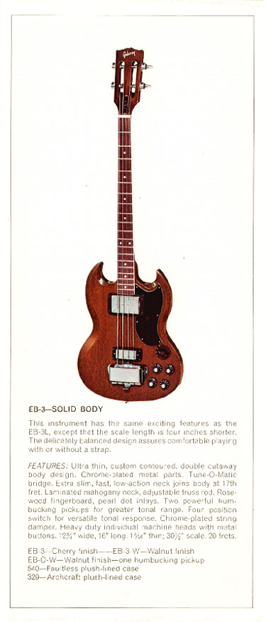 1970 Gibson bass catalogue page 4 - Gibson EB3