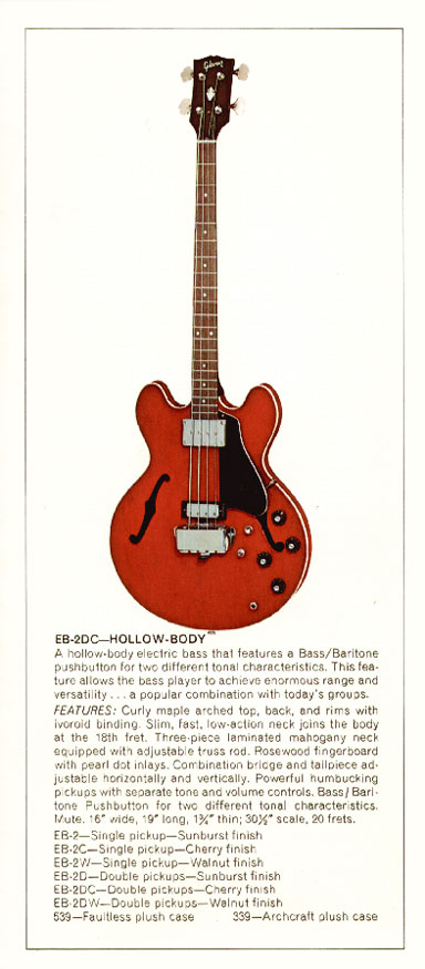 1970 Gibson bass catalogue page 7 - EB2 hollow-bodied bass guitar