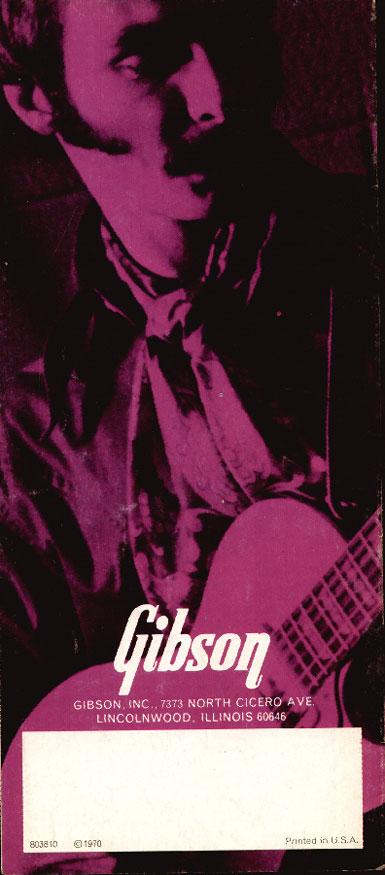 1970 Gibson bass catalogue back cover