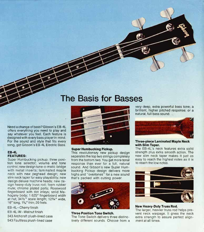 1972 Gibson bass catalogue page 3 - Gibson EB4L bass