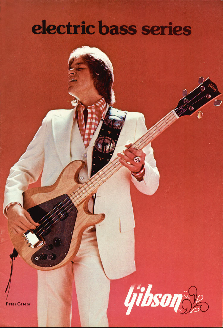 1975 Gibson bass catalogue front cover - Peter Cetera of Chicago playing an L9-S Ripper