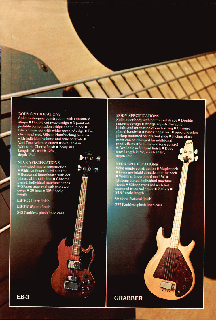 1975 Gibson bass catalogue page 7 the Grabber and the EB3