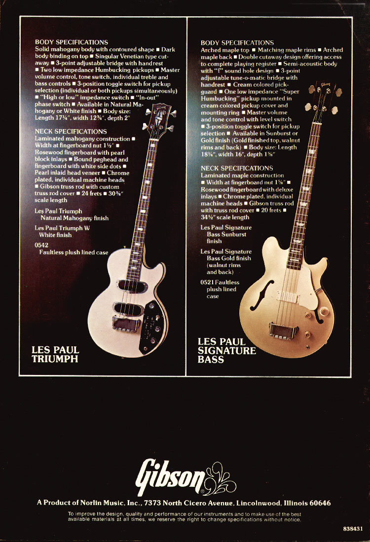 1975 Gibson bass catalogue page 8 Les Paul Triumph and Les Paul Signature basses
