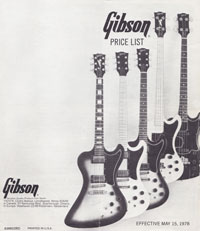 Gibson price list May 15th 1978