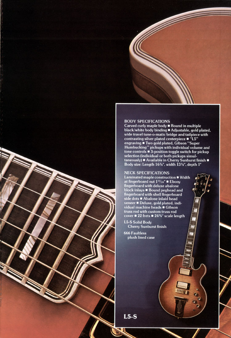 1975 Gibson solid body catalogue page 5 L5-S