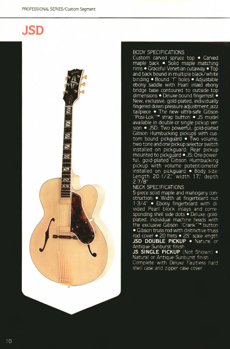 1980 Gibson guitar, bass and banjo catalogue - page 10 - JS and JSD (Johnny Smith) guitars.
