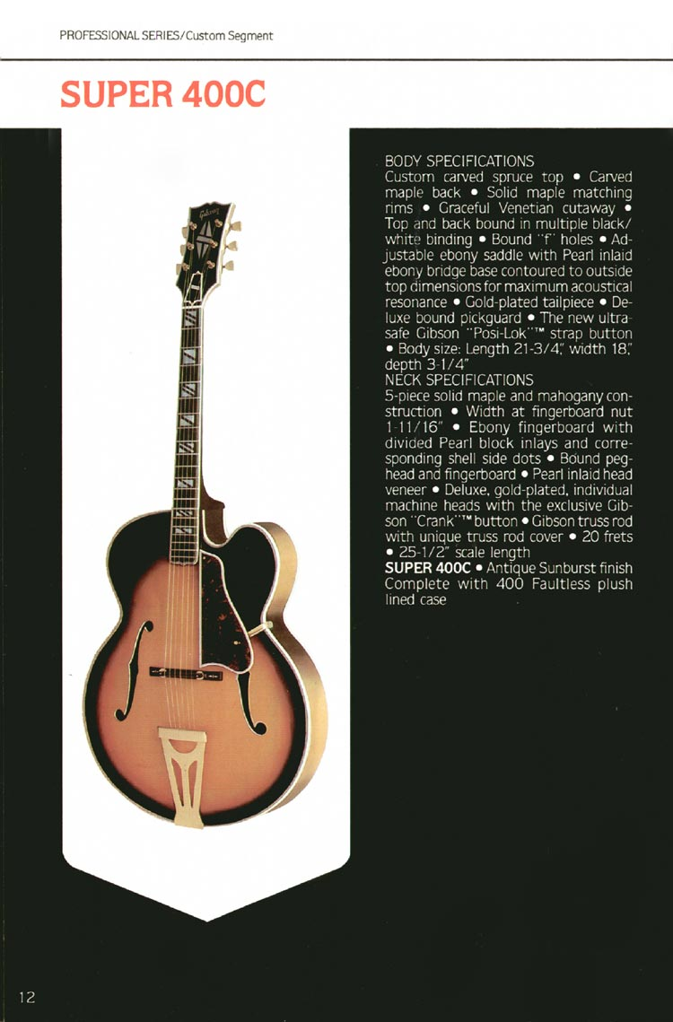 1980 Gibson guitar, bass and banjo catalogue - page 12 -  Gibson Super 400C