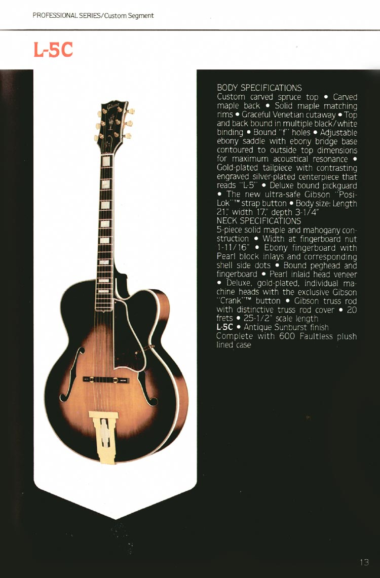 1980 Gibson guitar, bass and banjo catalogue - page 13 - Gibson L-5C