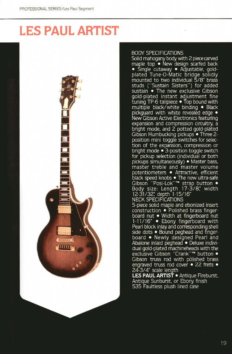 1980 Gibson guitar, bass and banjo catalogue - page 19 - Les Paul Artist
