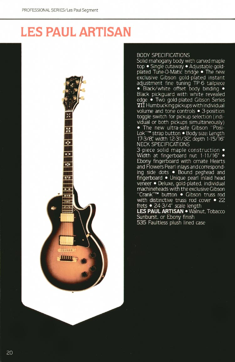 1980 Gibson guitar, bass and banjo catalogue - page 20 - Les Paul Artisan