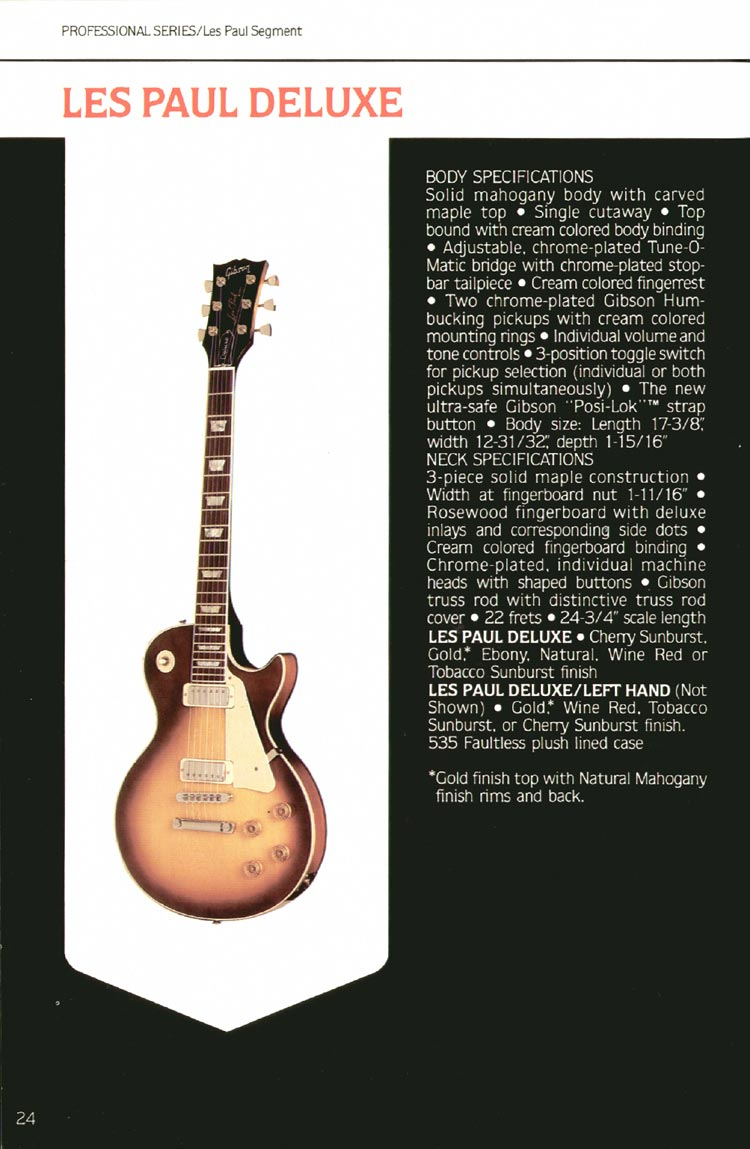 1980 Gibson guitar, bass and banjo catalogue - page 24 - Les Paul Deluxe
