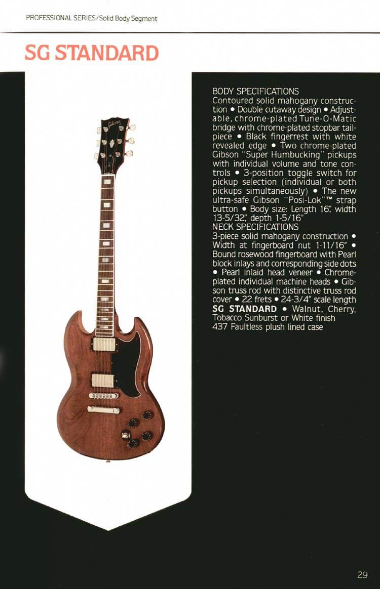 1980 Gibson guitar, bass and banjo catalogue - page 29 - SG Standard