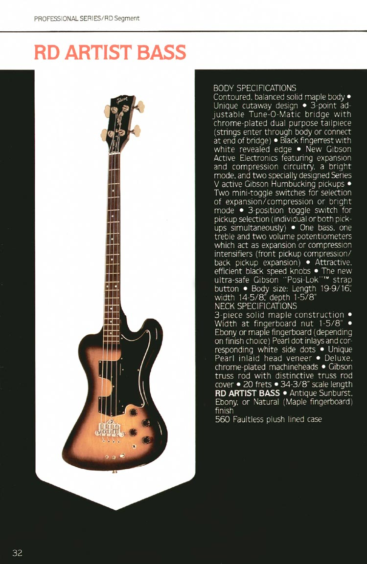 1980 Gibson guitar, bass and banjo catalogue - page 32 - RD Artist bass