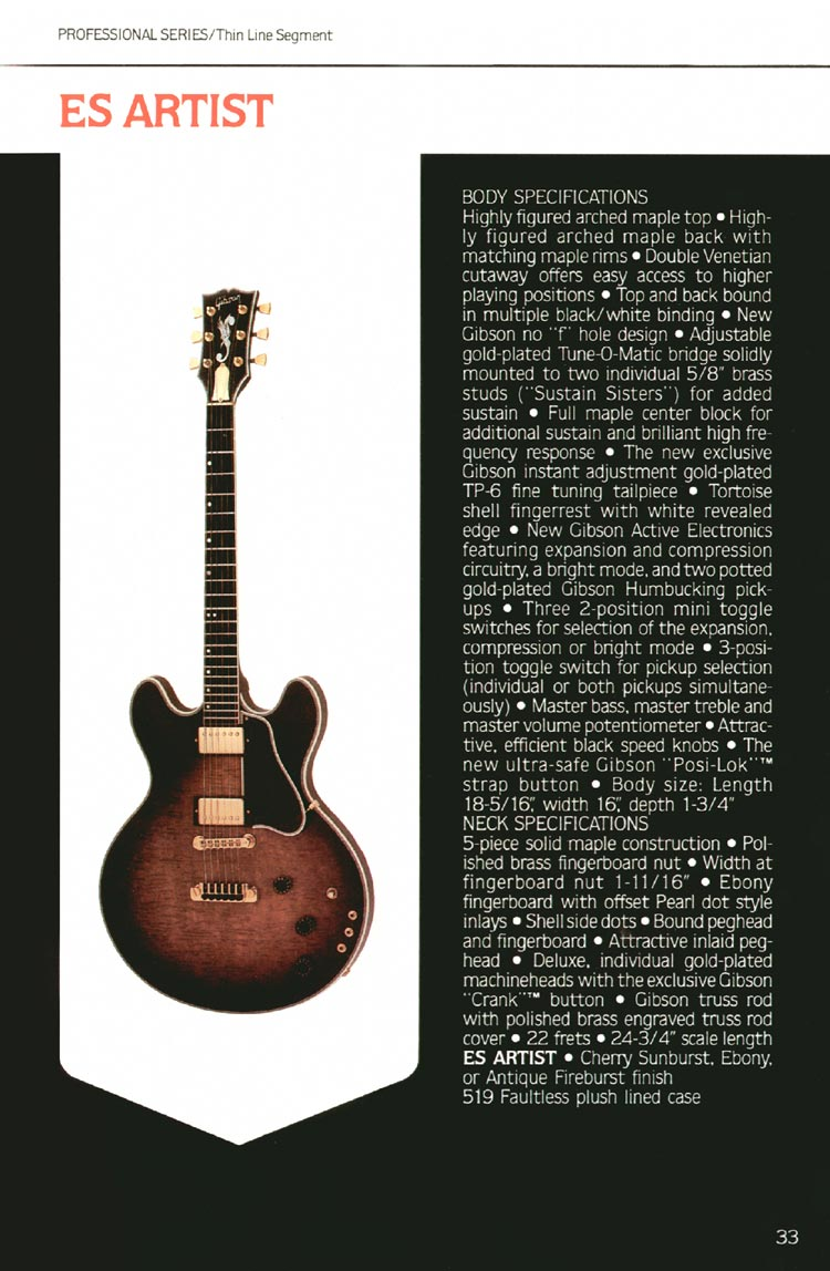 1980 Gibson guitar, bass and banjo catalogue - page 33 - ES Artist