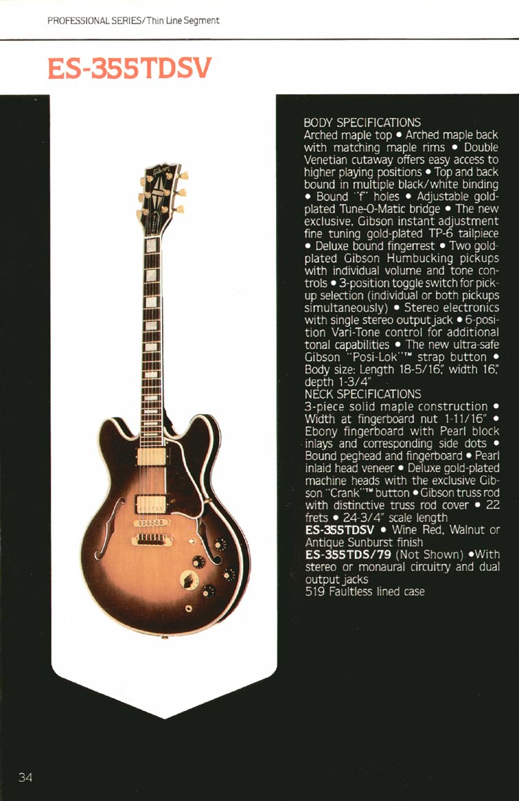 1980 Gibson guitar, bass and banjo catalogue - page 34 - ES-355TDSV