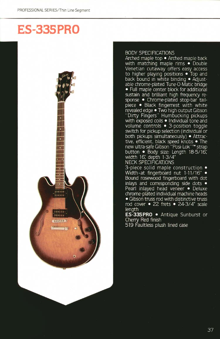 1980 Gibson guitar, bass and banjo catalogue - page 37 - ES-335PRO