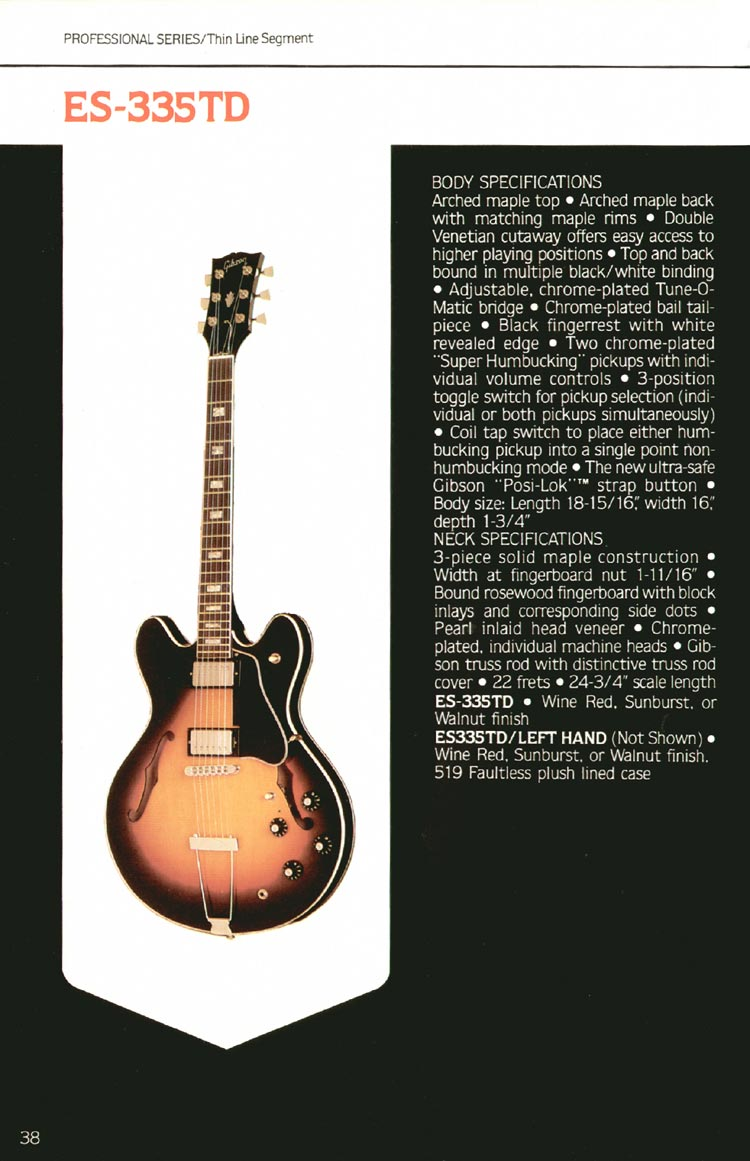1980 Gibson guitar, bass and banjo catalogue - page 38 - ES-335TD