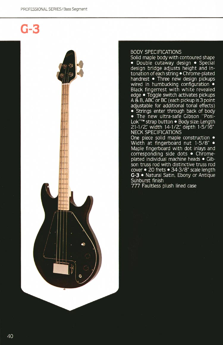 1980 Gibson guitar, bass and banjo catalogue - page 40 - G3 bass