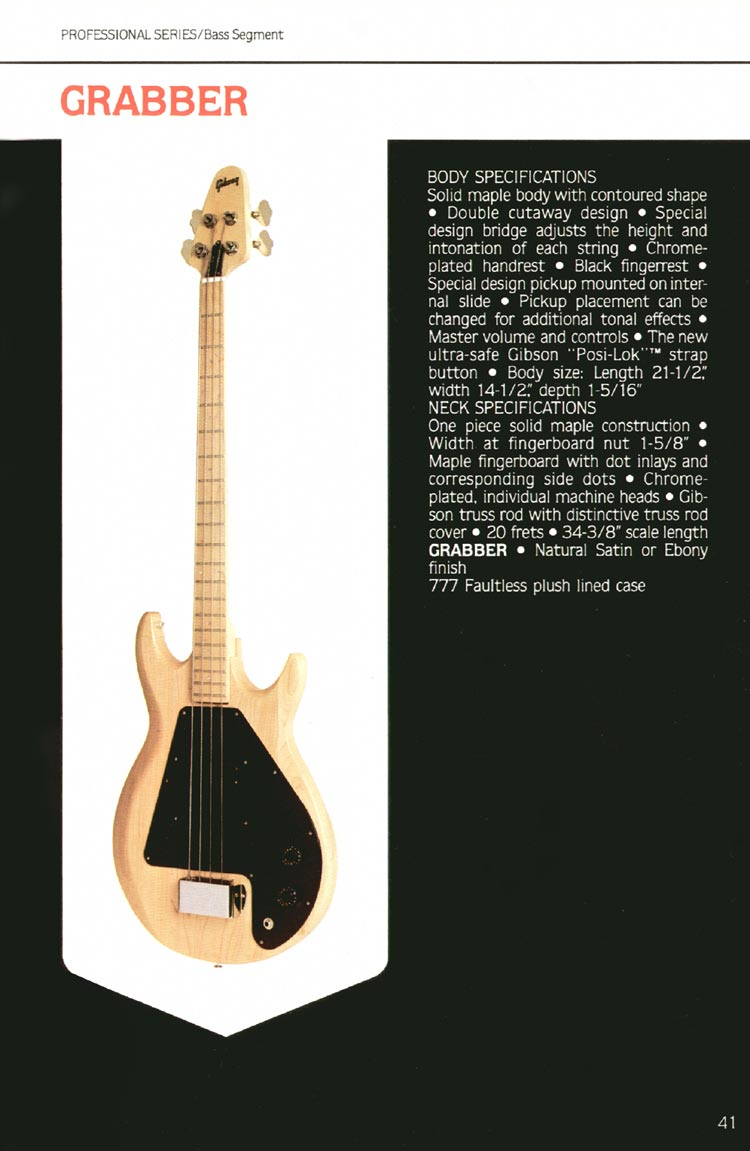 1980 Gibson guitar, bass and banjo catalogue - page 41 - Grabber bass