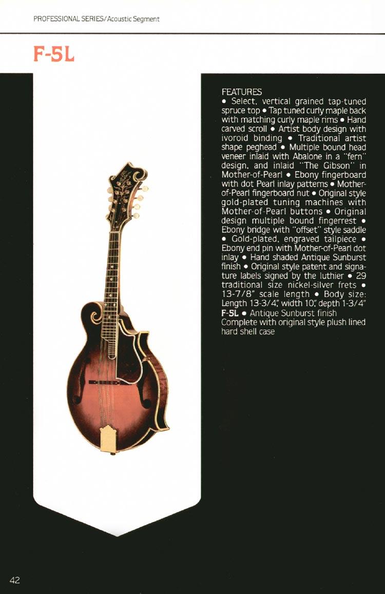 1980 Gibson guitar, bass and banjo catalogue - page 42 - F-5L mandolin.