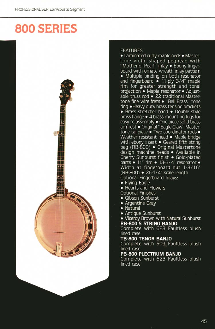1980 Gibson guitar, bass and banjo catalogue - page 45 - 800 series banjos
