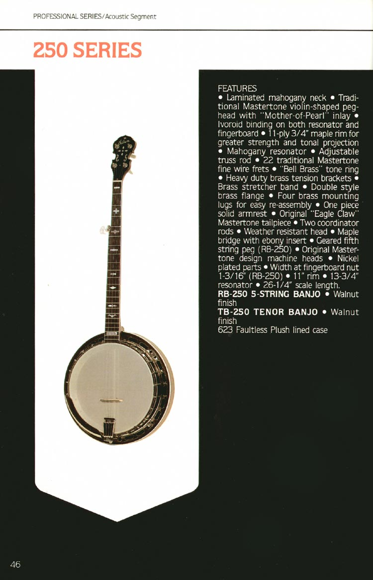 1980 Gibson guitar, bass and banjo catalogue - page 46 - 250 series banjos