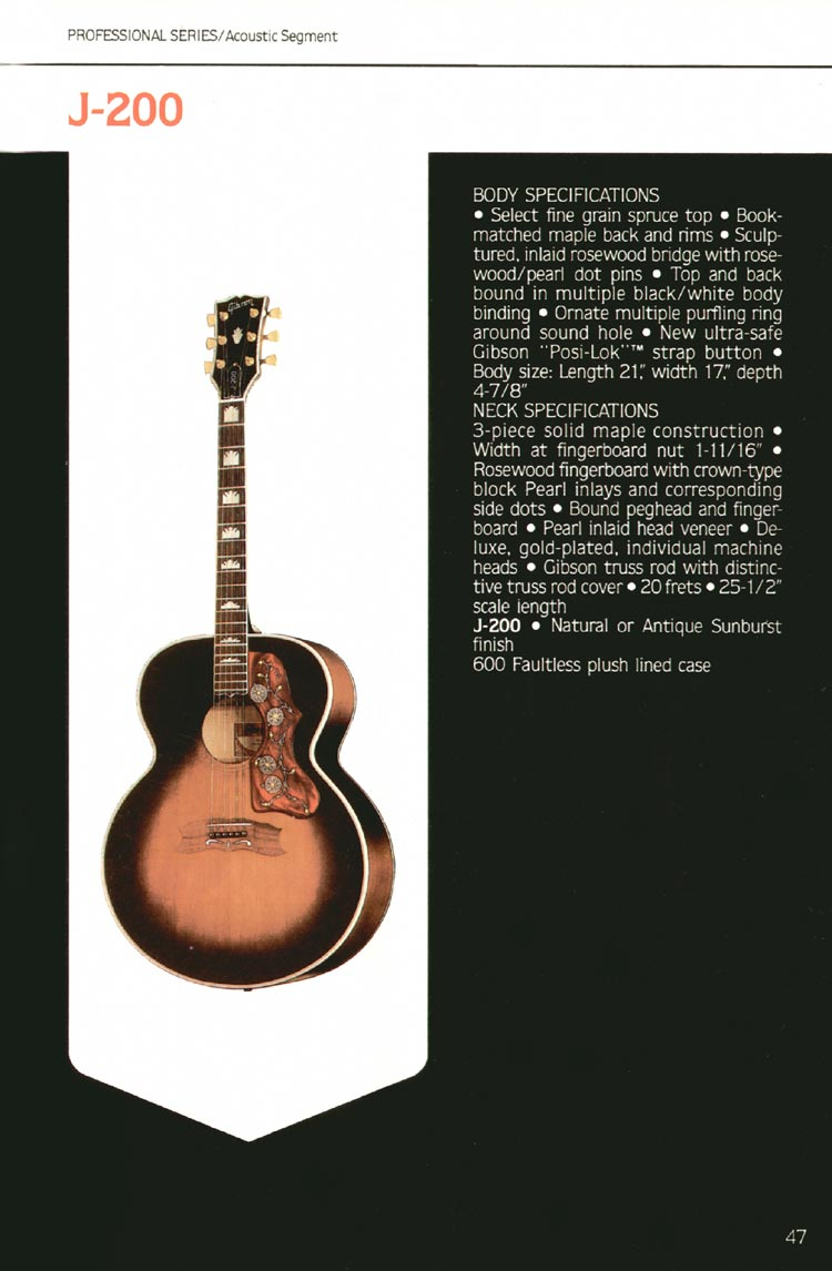 1980 Gibson guitar, bass and banjo catalogue - page 47 - J-200 flat-top acoustic guitar