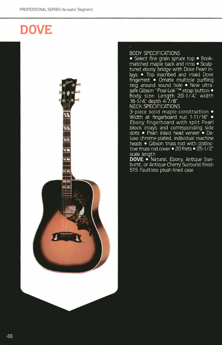 1980 Gibson guitar, bass and banjo catalogue - page 48 - Dove flat-top acoustic guitar