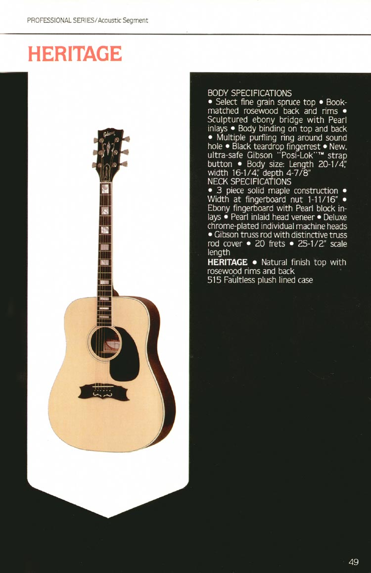 1980 Gibson guitar, bass and banjo catalogue - page 49 - Heritage flat-top acoustic guitar