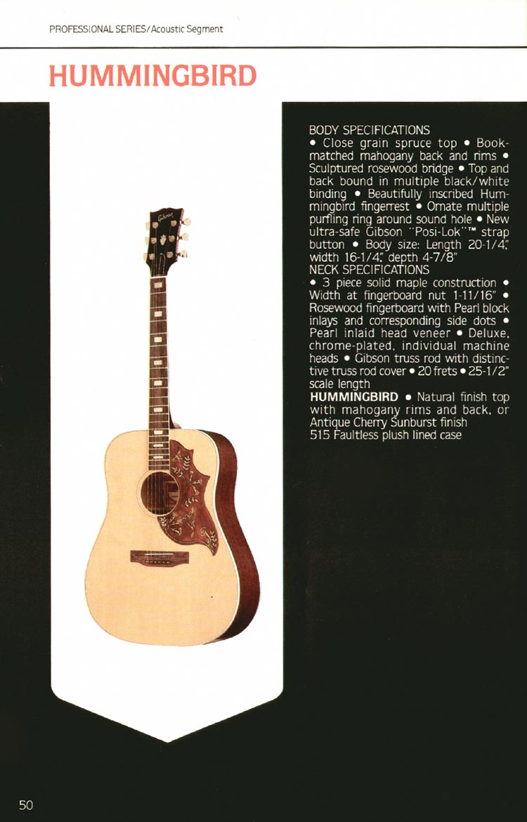 1980 Gibson guitar, bass and banjo catalogue - page 50 - Hummingbird flat-top acoustic guitar