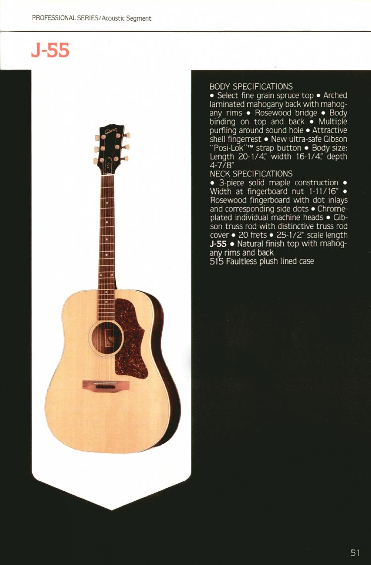 1980 Gibson guitar, bass and banjo catalogue - page 51 - J-5S flat-top acoustic guitar