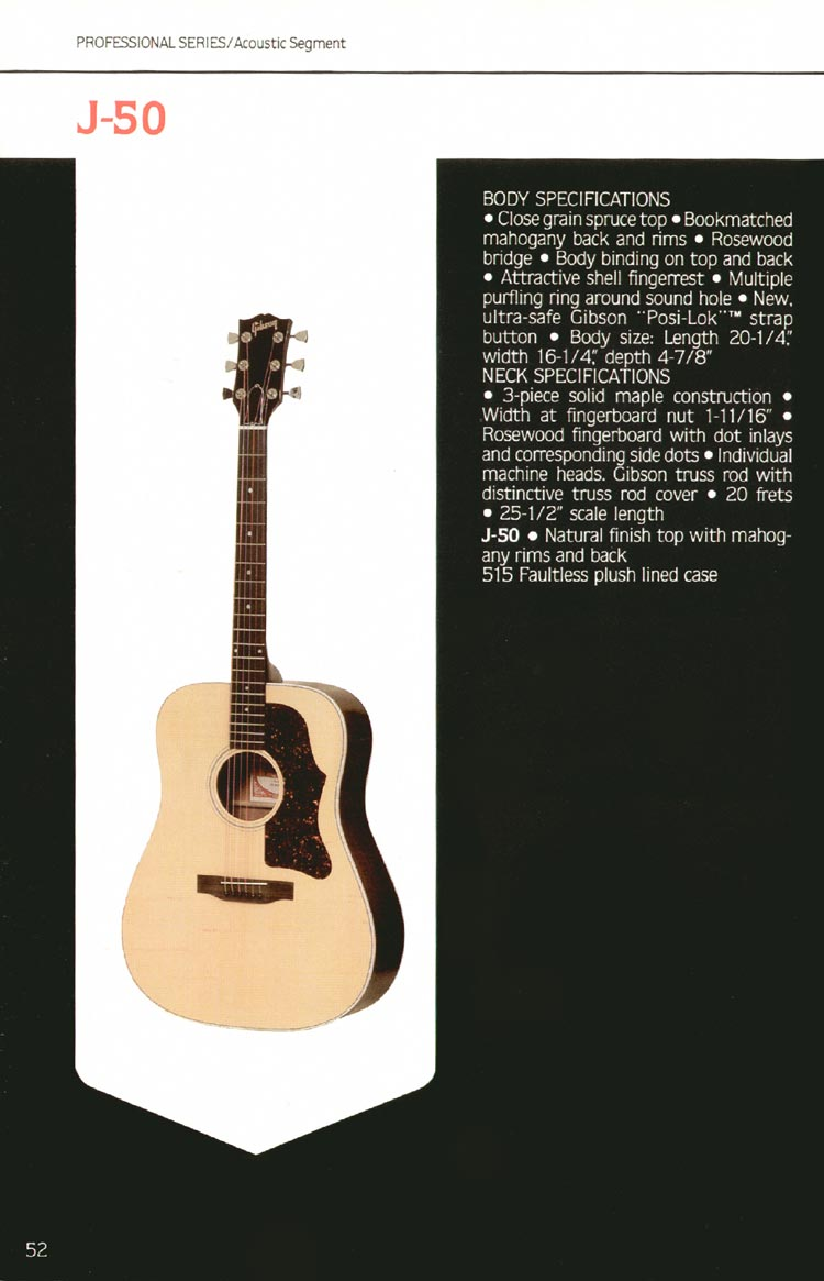 1980 Gibson guitar, bass and banjo catalogue - page 52 - J-50 flat-top acoustic guitar
