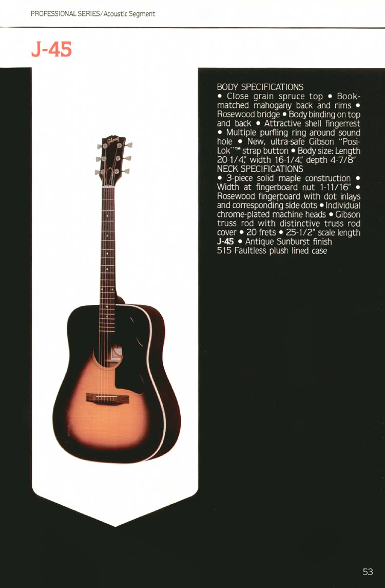 1980 Gibson guitar, bass and banjo catalogue - page 53 - J-45 flat-top acoustic guitar