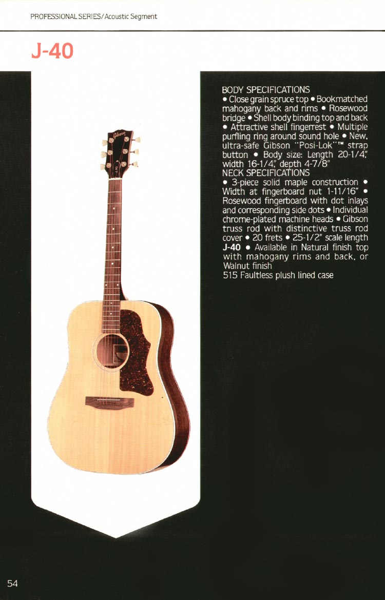 1980 Gibson guitar, bass and banjo catalogue - page 54 - J-40 flat-top acoustic guitar