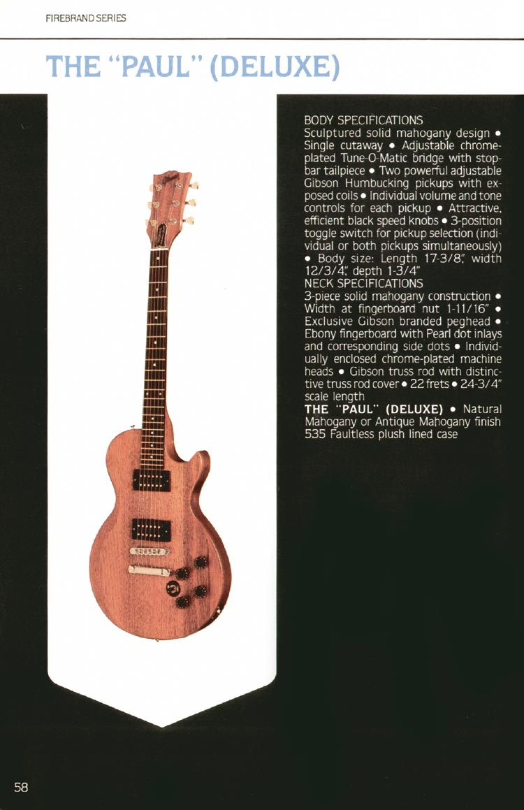 "1980 Gibson guitar, bass and banjo catalogue - page 58 - The ""Paul"" (Deluxe)"