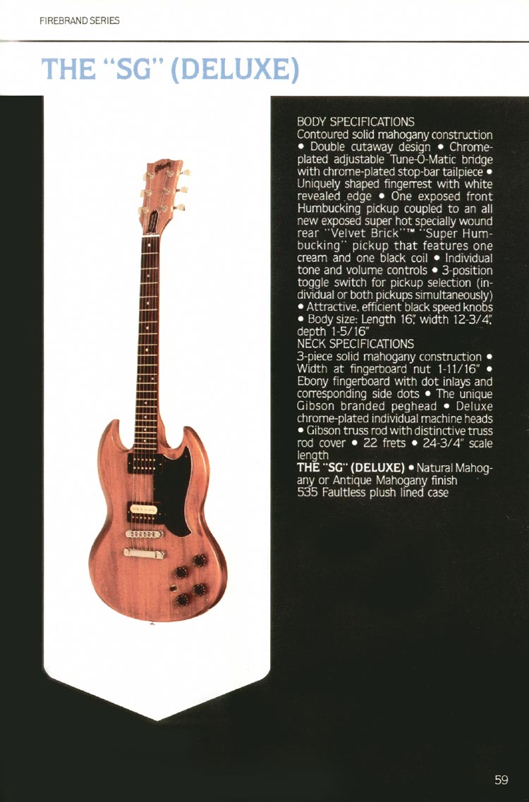 "1980 Gibson guitar, bass and banjo catalogue - page 59 - The ""SG"" (Deluxe)"