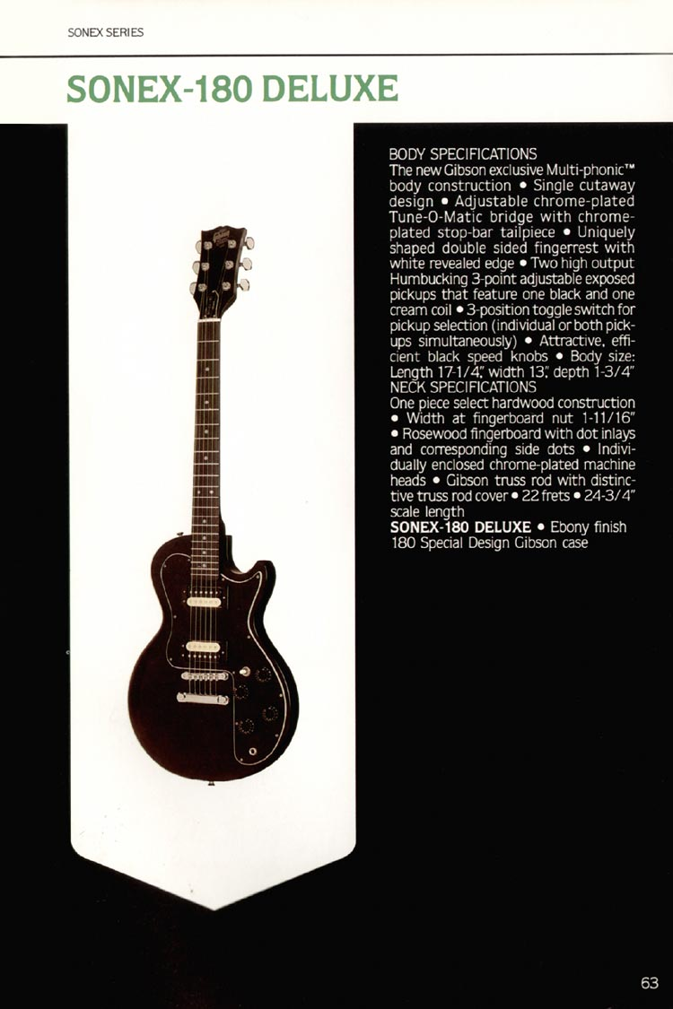 1980 Gibson guitar, bass and banjo catalogue - page 63 - Sonex-180 Deluxe