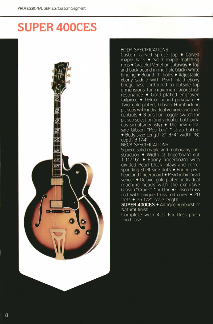 1980 Gibson guitar, bass and banjo catalogue - page 8 - Super 400CES