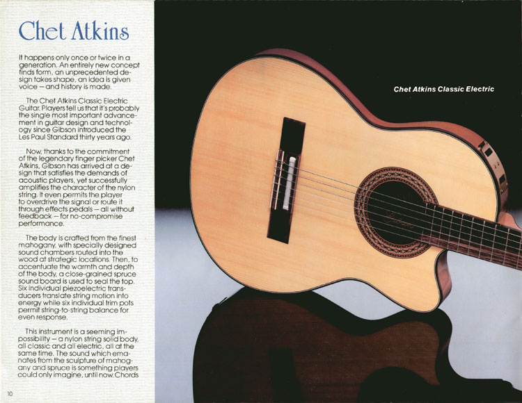 1983 Gibson guitar and bass Guitar Catalogue Page 10 - Chet Atkins Classic Electric