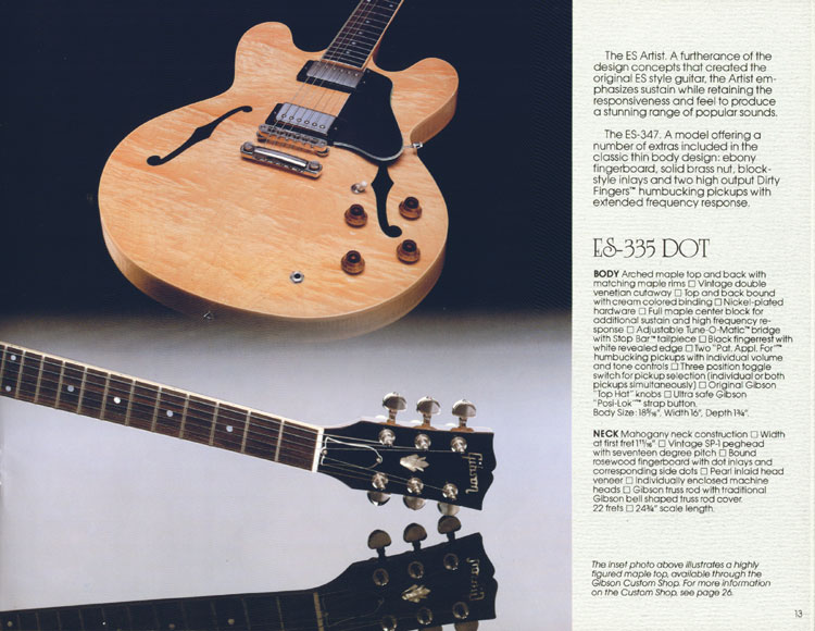 1983 Gibson guitar and bass Guitar Catalogue Page 13 - ES335 Dot
