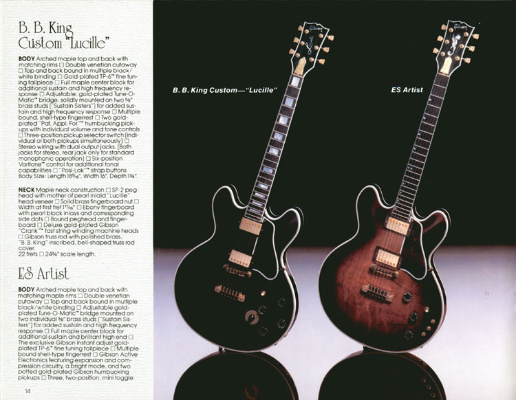 1983 Gibson guitar and bass Guitar Catalogue Page 14 - BB King Custom Lucille and ES-347