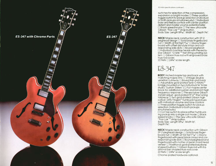 1983 Gibson guitar and bass Guitar Catalogue Page 15 - Gibson ES347